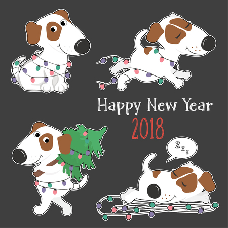 New year card with cute cartoon dogs and Christmas lights. Sticker. Vector illustration.