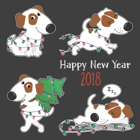 Nieuwjaar kaart met schattige cartoon honden en kerstverlichting. Sticker. Vector illustratie. Stockfoto