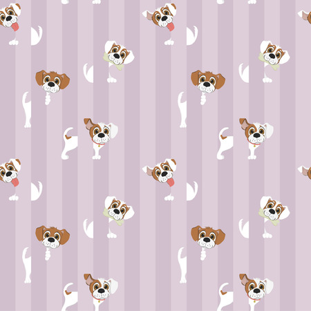 Pattern with funny white dog on striped background. Vector illustration.