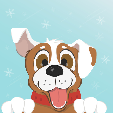 Funny dog smiling sticking his tongue out on blue background with snowflakes. Colorful vector illustration. Stock Photo