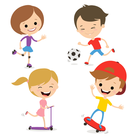 Fun kids play sports. Active way of life. White background.