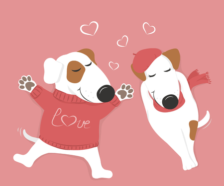 Cute loving white dog lying with his eyes closed. Pink background and hearts. Vector illustration. Vettoriali