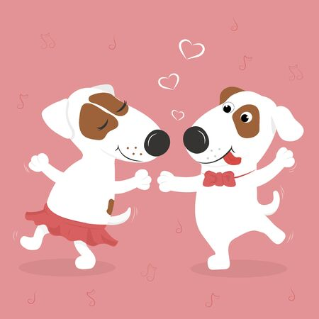 Cute loving white dogs dance. Pink background and hearts. Vector illustration.