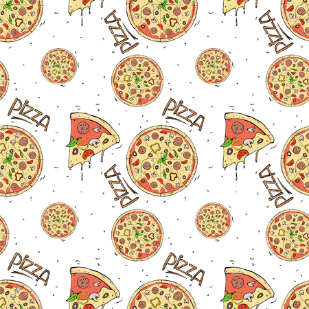 Seamless pattern of pizza and ingredients on white background. Vector illustration in sketch style.