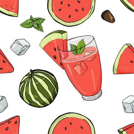 Watermelon drink in glass cup with ice and mint vector seamless pattern. Cocktail, watermelon, watermelon slices on white background. Colorful vector illustration in sketch style.