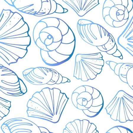 Seamless pattern from different kinds of sea shells. One-color silhouettes on white background. Vector illustration in sketch style. Illustration
