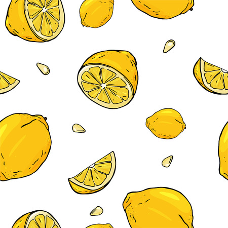Seamless pattern with lemon. A whole, half, slice lemon and pits of. Colorful vector illustration in sketch style. Illustration
