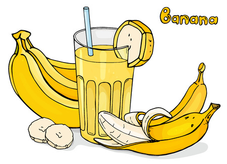 Colorful vector illustration in sketch style. Cool banana drink in a glass Cup with a straw. Bananas and a cocktail on a white background.