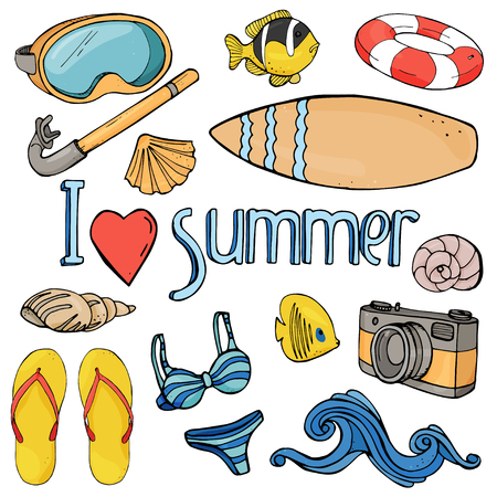 Summer set on a beach holiday and scuba diving. Colorful beach objects and underwater fauna in sketch style on white background. Vector illustration