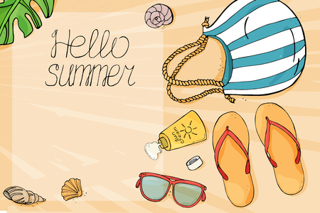 Hello summer vector banner design. The theme of Beach vacation. Colorful beach items on the sand to the sea in the style of the sketch. Vector illustration. Mock up.