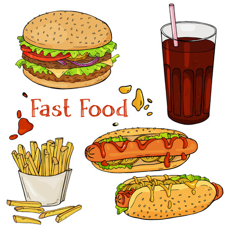 Set of hand-drawn fast food. Eating fast food for menus, and advertising or packaging. Sketch. Vector design Illustration