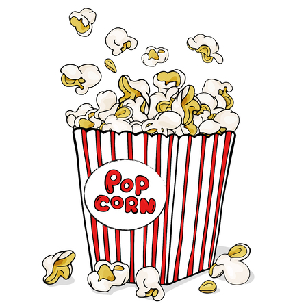 Box of popcorn. Colorful vector illustration on white background in sketch style. For menu, web, poster. Symbol of fastfood, cinema, entertainment.
