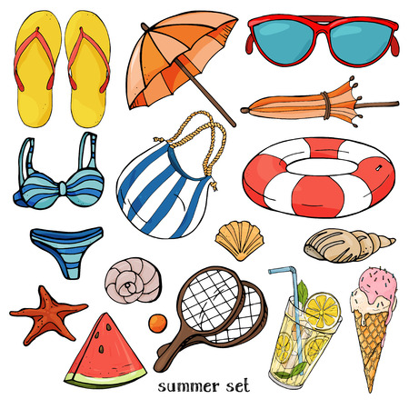 Summer set on the theme of beach holidays and summer meals. Colorful beach items in sketch style on white background. Ilustração