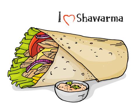 Heerlijke kebab op een witte achtergrond. Arabische keuken. Serie over straatvoedsel. Geweldig voor markt, restaurant, café, voedseletiketontwerp. Kleurrijke vectorillustratie in schetsstijl.
