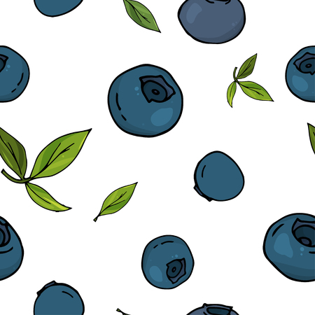 Seamless pattern with berries of blueberry. Colorful vector illustration in sketch style.