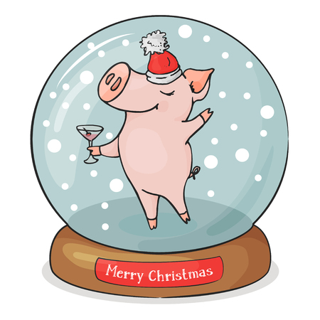 Merry Christmas pig in Santa hat and with a glass in Christmas ball with snowflakes on white background. Snowflakes are falling inside.