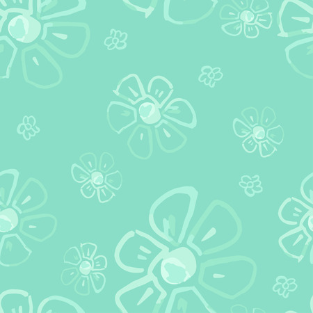 Seamless floral pattern with watercolor flowers in vintage style. Monochrome illustration on green background.