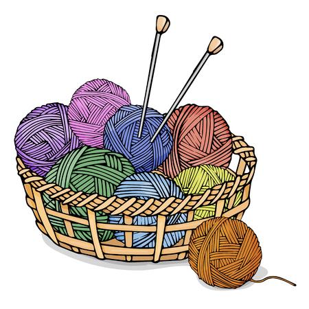 Enredos de diferentes colores con lana para tejer en cesto de mimbre. Ilustración de vector colorido en estilo boceto.