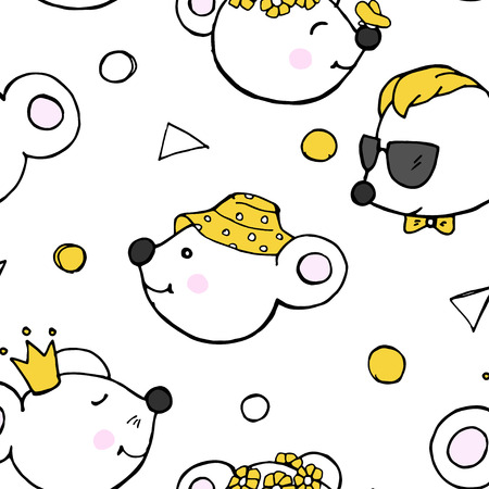 Seamless pattern with cute funny mice. Mouse Princess, mouse in hat, mouse with butterfly and mouse with glasses. Çizim