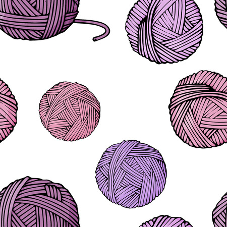 Seamless pattern with purple yarn tangles for knitting on white background. Colorful vector illustration in sketch style.