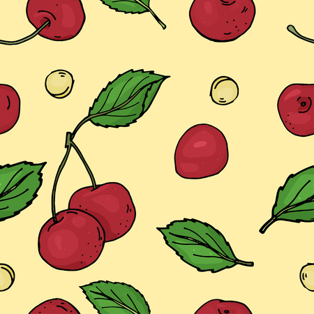 Seamless pattern with cherry. Bright ripe cherries and pits on a white background. Colorful vector illustration in sketch style.