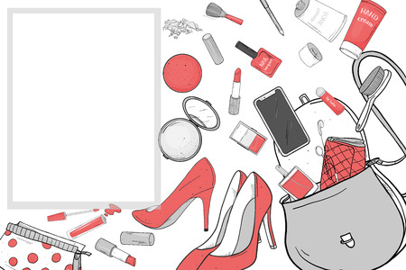 Women's handbag with cosmetics, shoes and smartphone. Things fell out of the bag. Vector illustration in sketch style. For fashion publications, beauty and mobile applications. Mock up. Template.