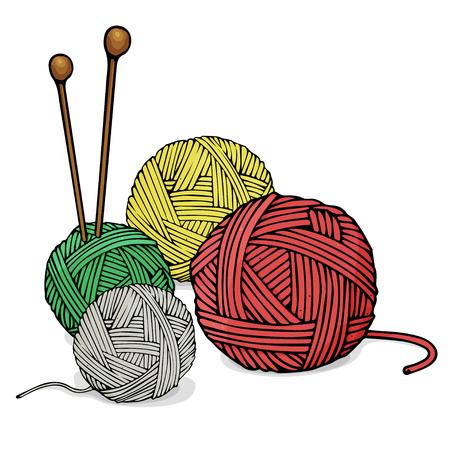 Wollknäuel in verschiedenen Farben zum Stricken und Stricken von Nadeln. Bunte Vektorillustration im Skizzenstil.