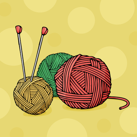 Balls of different colors of wool for knitting and knitting needles on yellow background. Colorful vector illustration in sketch style.