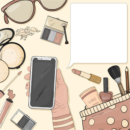 Hand with a smartphone and colorful items of women's cosmetics. Decorative cosmetics for face and nails. For beauty, fashion magazine, print media, web apps, mobile apps. Mock up. Template.