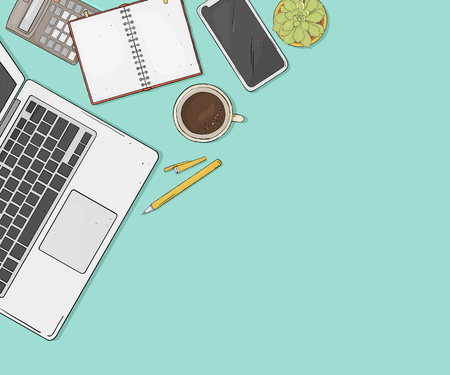 Laptop, phone, Cup of coffee, a notebook and a flower on your desktop the top view. Colorful vector illustration in sketch style. Template. Mock up.