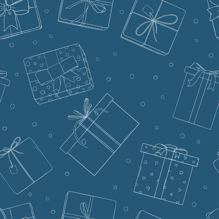 Seamless pattern with gift boxes. Monochrome vector illustration in sketch style. Silhouette on blue background. Wrapping paper, Wallpaper, textiles.