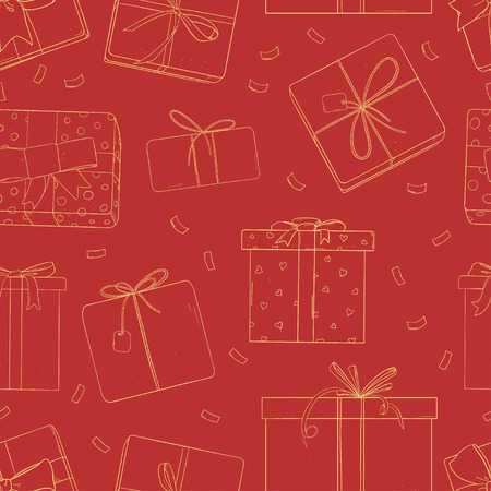 Seamless pattern with gift boxes. Monochrome vector illustration in sketch style. Silhouette on a red background. Wrapping paper, Wallpaper, textiles.