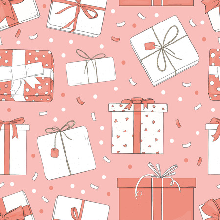 Seamless pattern with gift boxes. Vector illustration in sketch style. Boxes are tied with ribbons on a pink background. Wrapping paper, Wallpaper, textiles.