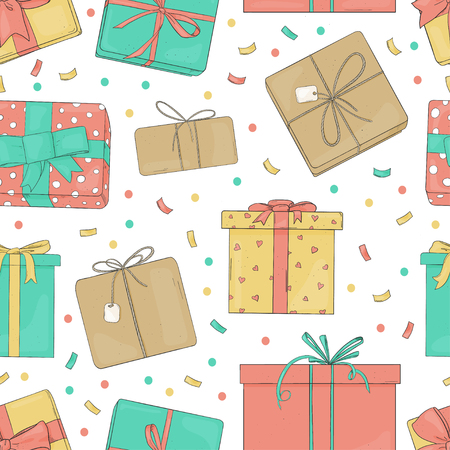 Seamless pattern with gift boxes. Colorful vector illustration in sketch style. Boxes tied with ribbons on a white background. Wrapping paper, Wallpaper, textiles.