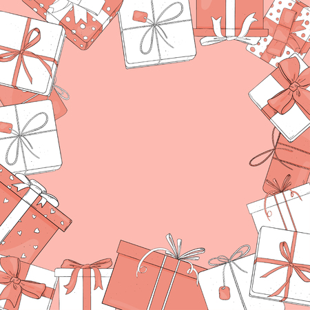 Frame with gift boxes of white and pink colors. Vector illustration in sketch style. Boxes are tied with ribbons on a pink background. Template. Mock up.