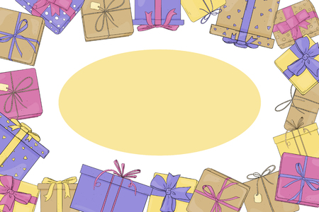 Frame with gift boxes. Vector illustration in sketch style. Boxes are tied with ribbons. Template. Mock up. Horizontally.