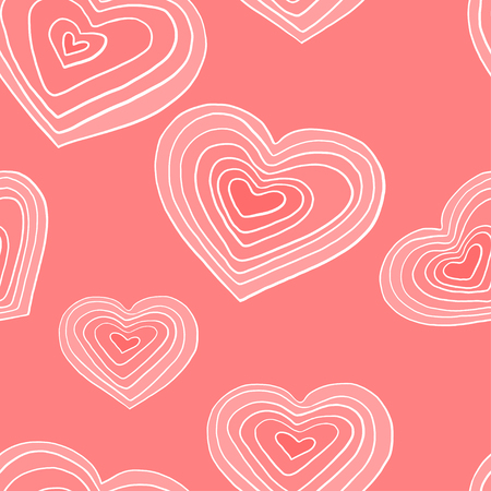 Seamless pattern with white hearts on pink background. Romantic Wallpaper, textiles, clothing, wrapping paper. Vector illustration in sketch style. Valentine's day. Illustration