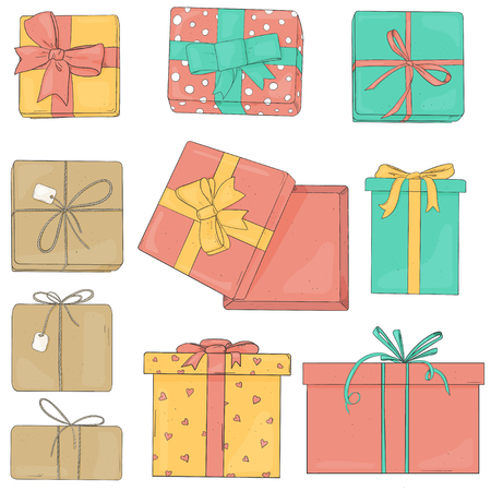 Set Gift boxes of different colors and shapes. Colorful vector illustration in sketch style. Boxes are tied with ribbons on a white background.