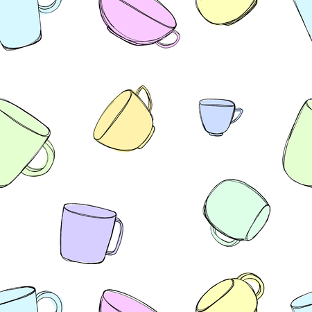Seamless pattern with hand-drawn tea cups.