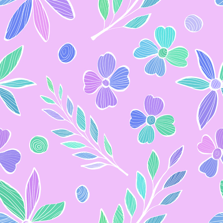 Seamless pattern with branches of leaves and flowers in the style of the sketch. Colorful illustration on pink background.  イラスト・ベクター素材