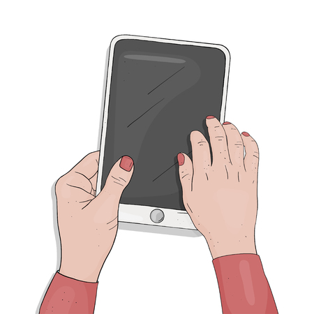 Woman works on a digital tablet. Female hands with digital tablet on white background. The view from the top. Colorful vector illustration in sketch style. Ilustração