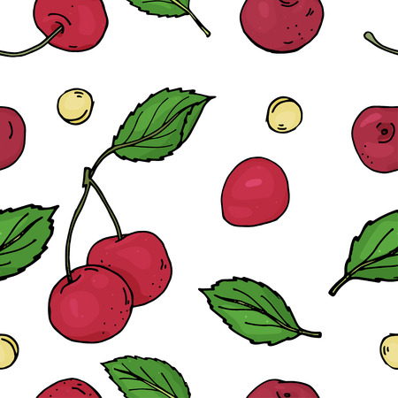 Seamless pattern with cherry. Bright ripe cherries and pits on a white background. Colorful vector illustration in sketch style. Illustration