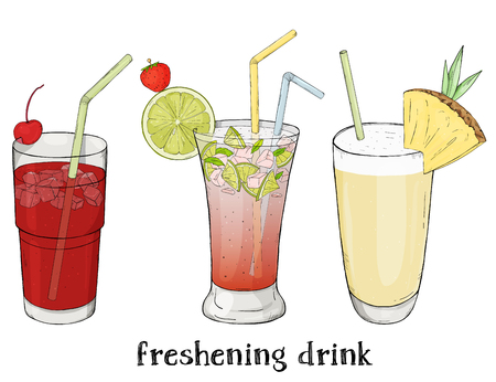 Set of three refreshing summer drinks. Cherry, Mojito and milkshake. Colorful vector illustration in sketch style. For menu, website, cocktail card, advertising.