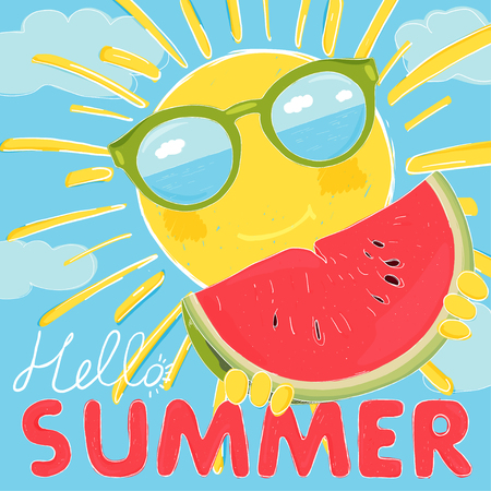 Funny sun with glasses and a ripe watermelon. Sunglasses reflect the sea and sky. Colorful vector illustration in sketch style. Hello Summer. Ilustração