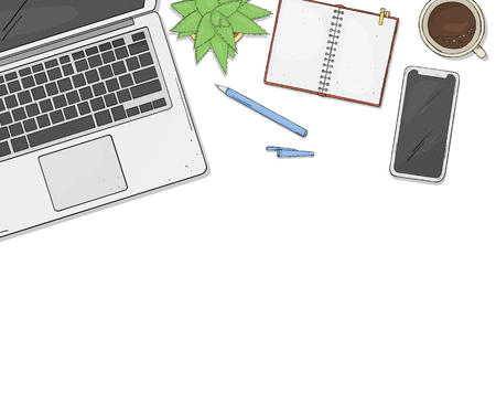 Laptop, phone, Cup of coffee, a notebook and a flower on desktop with copy space. Colorful vector illustration in sketch style. Template.