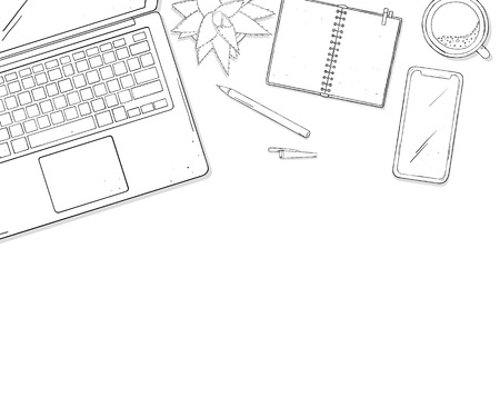 Laptop, phone, Cup of coffee, a notebook and a flower on desktop with copy space. Colorless vector illustration in sketch style. Template.