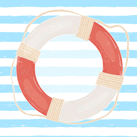 life ring on the background of marine strips hand-drawn. Space for your text on the sea theme. Blue and white striped background. Vector illustration in sketch style. Template.