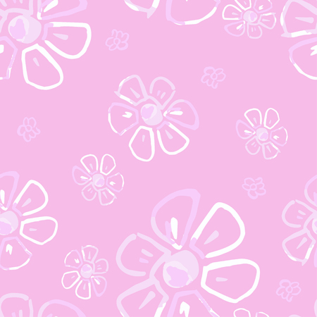 Seamless floral pattern with flowers in vintage style. Monochrome illustration on pink background.