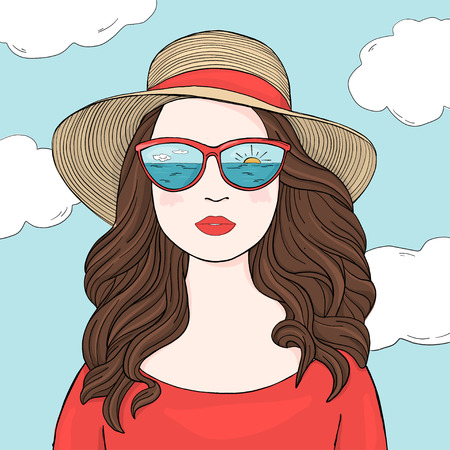 Portrait of a fashionable woman with long dark hair, mirrored glasses and a summer hat. Colorful vector illustration in sketch style. Hand-drawn. 矢量图像