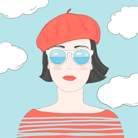 Portrait of a stylish woman with short dark hair in mirrored glasses and a beret. Colorful vector illustration in sketch style. Hand-drawn. Çizim